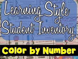 Learning Style Student Inventory : Color by Number - Back to School