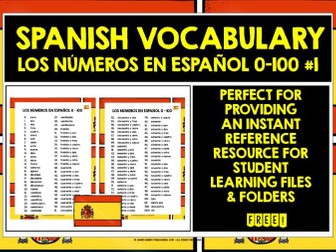SPANISH NUMBERS 0-100 REFERENCE MAT #1