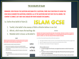 ISLAM GCSE UNITS THAT WILL BE TESTED