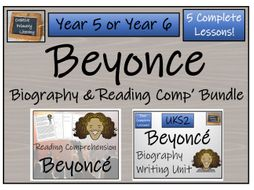 UKS2 Literacy - Beyonce Reading Comprehension & Biography Bundle