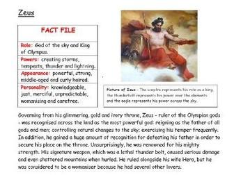 WAGOLL Greek Gods non-chronological report