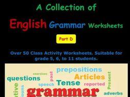 English Grammar Worksheets Part D
