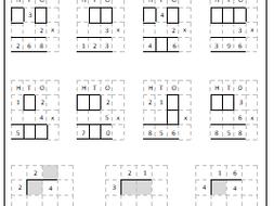 Maths, missing numbers, column multiplication and bus stop method, Years 3/4 or LA Y5/6.
