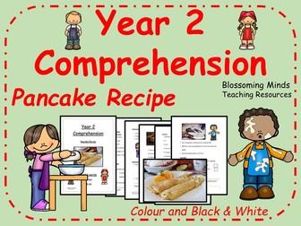 Year 2 Comprehension - Pancake Recipe - Pancake Day - Shrove Tuesday - Colour and Black & White