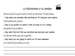 French writing tasks 3 topics (TV and cinema, holiday, town vs countryside)