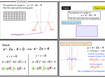 Roots and Turning Points of Quadratic Graphs (notebook)