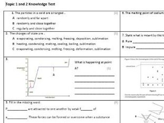 Edexcel CC3 Chemistry Knowledge Assessment