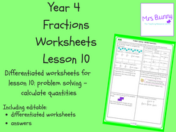 10. Fractions: problem solving – calculate quantities worksheets (Y4)