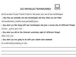 French writing tasks 3 topics (new technologies, routine, clothes)