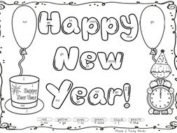 Happy New Year colour by tricky word sight words