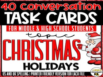 Conversation Starter Cards | Christmas holiday | Social Skills for Middle&High