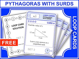 Pythagoras, with Surds (Loop Cards)