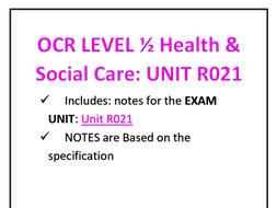 UNIT R021 BOOKLET OCR 1/2 HEALTH & SOCIAL CARE