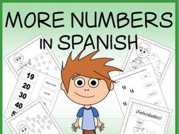 Spanish More Numbers Vocabulary Sheets, Printables, and Matching Game