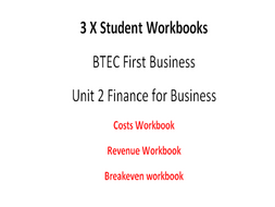 Workbooks for BTEC First Level 1/2 - Unit 2 Finance for Business