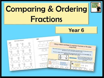Maths- comparing & ordering fractions- Year 6