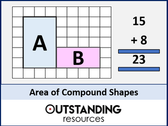 Area 5 - Area of Compound Shapes or Compound Areas (+ 3 worksheets)