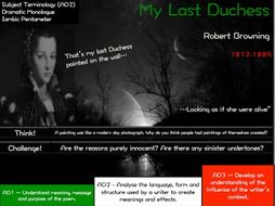 a focus on robert brownings poem my last duchess Did robert browning do away with elizabeth barrett why do his poems so often feature husbands who kill or resent their wives elizabeth lowry looks to his dramatic monologue 'my last duchess' for.