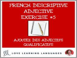 French Descriptive Adjectives Exercise #5 - Ajoutez un adjectif qualificatif