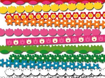 Digital ribbons clipart - Spring flowers