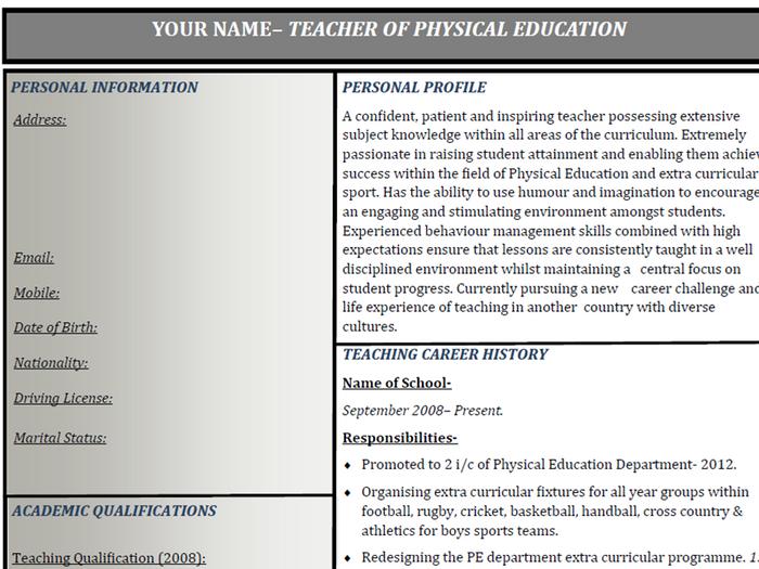teacher curriculum vitae