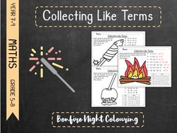 Collecting Like Terms - Bonfire Night Colouring
