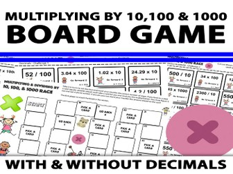 Multiplying & Dividing By 10, 100 and 1000 Board Game