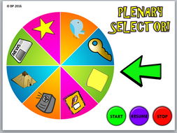 """AfL Fun Plenary Selector - Spinning Plenary Wheel - Students shout """"STOP"""" to choose lesson plenary!"""