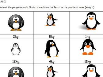 Greater than Less than Maths penguin Mass game KS1