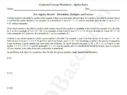 Basic Algebra Worksheet 1 – Pre-Algebra Review - Divisibility, Multiples and Factors