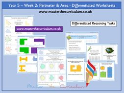 Year 5-Autumn- Block 5- Area and Perimeter Differentiated Worksheets- White Rose Style - Week 2