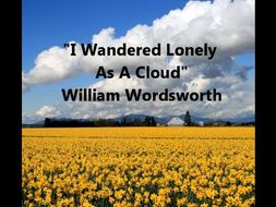 Poetry analysis and descriptive writing: Spring 'I Wandered Lonely as a Cloud'