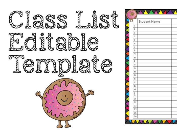 Class List   Editable Template