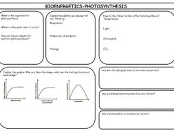 New AQA specification Bioenergetics revision sheets