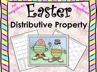 Spring Easter Math Distributive Property No Negs Maze & Color by Number Bundle