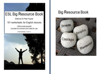 ESL Big Resource Book - 101 worksheets for English lessons  100% photocopiable +  full answers!