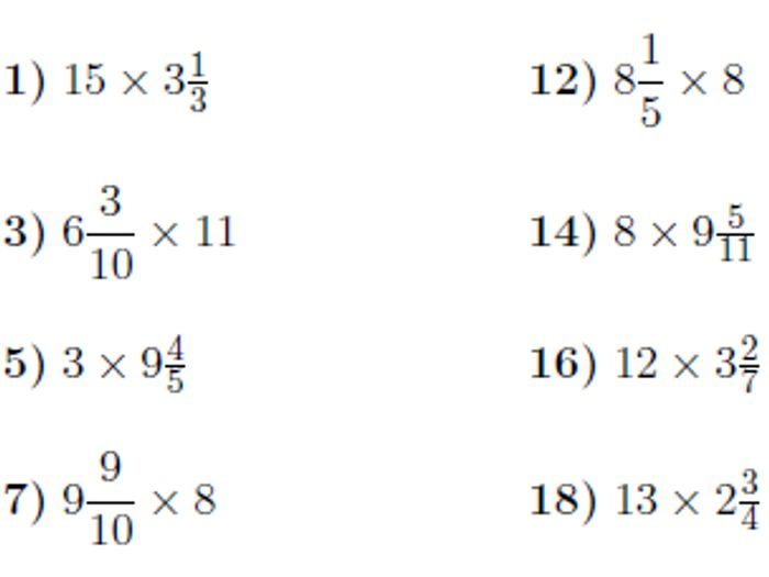 Multiplication Of Mixed Numbers Worksheets Worksheets For All ...