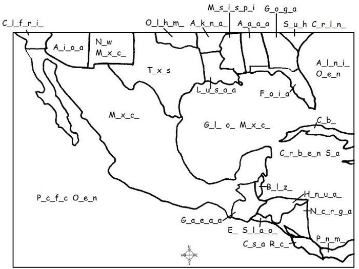 picture about Printable Maps of Central America titled MEXICO - Printable map - Fill within just the blanks