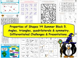 Properties of Shapes Y4 Summer Block 5 KS2 Challenges & Presentation for White Rose Small Steps