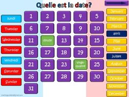 French - Interactive Calendar: days of the week, numbers up to 31 and months of the year.