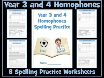 Homophones: Year 3 and 4  Spellings