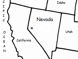 NEVADA - Printable handout with map and flag on nevada on us map, nevada map with capital, nevada road map, nevada river map, nevada physical geography map, las vegas with key, nevada outlines with label,
