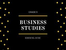 BUSINESS STUDIES FLASHCARDS EDEXCEL GCSE