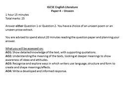 IGCSE English Literature Paper 4 - Unseen poetry and prose