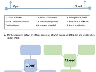 GCSE PE New OCR Spec. 2.2 Psychology Classification of skill worksheets
