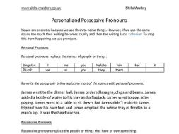 personal and possessive pronouns by skillsmastery teaching resources. Black Bedroom Furniture Sets. Home Design Ideas
