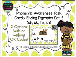 Phonemic Awareness Task Cards: Ending Digraphs Set 2