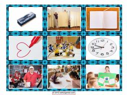 School Items Places & Subject Cards 4 Pages = 36 Cards
