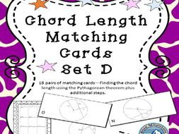 Chord Length using Pythagorean Theorem plus Matching Card Set