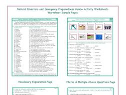 Natural Disasters and Emergency Preparedness Combo Activity Worksheets